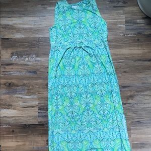 J. Jill-Blue/Green Boho Print Maxi Dress